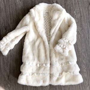 Like New Faux Fur Coat Jacket Girls 7/8